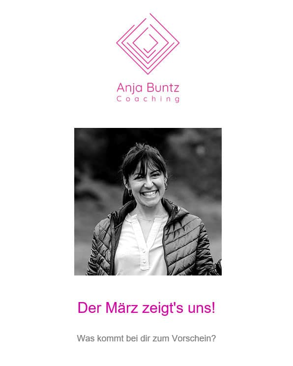Anja Buntz Coaching Newsletter 1